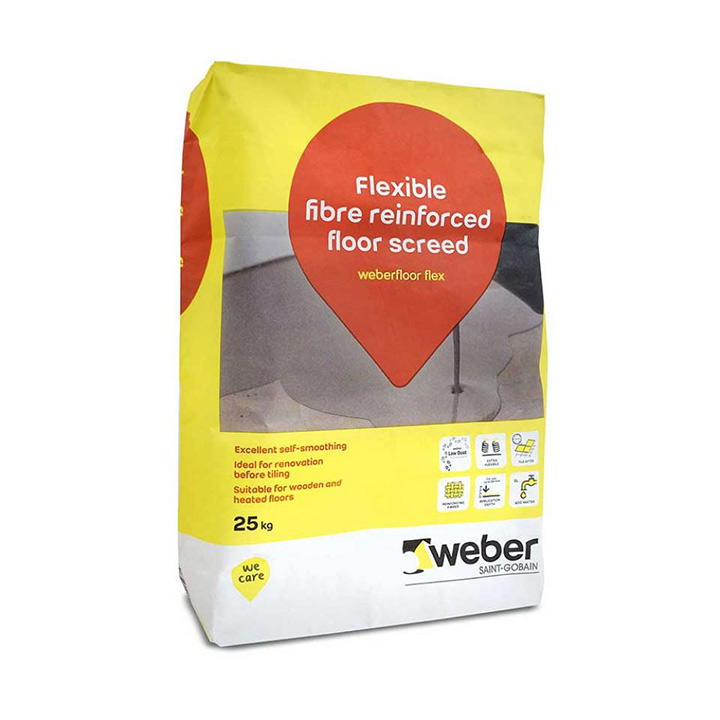 Weber Ireland tile fixing solutions. Weberfloor Flex Level quick drying flexible self levelling compound.