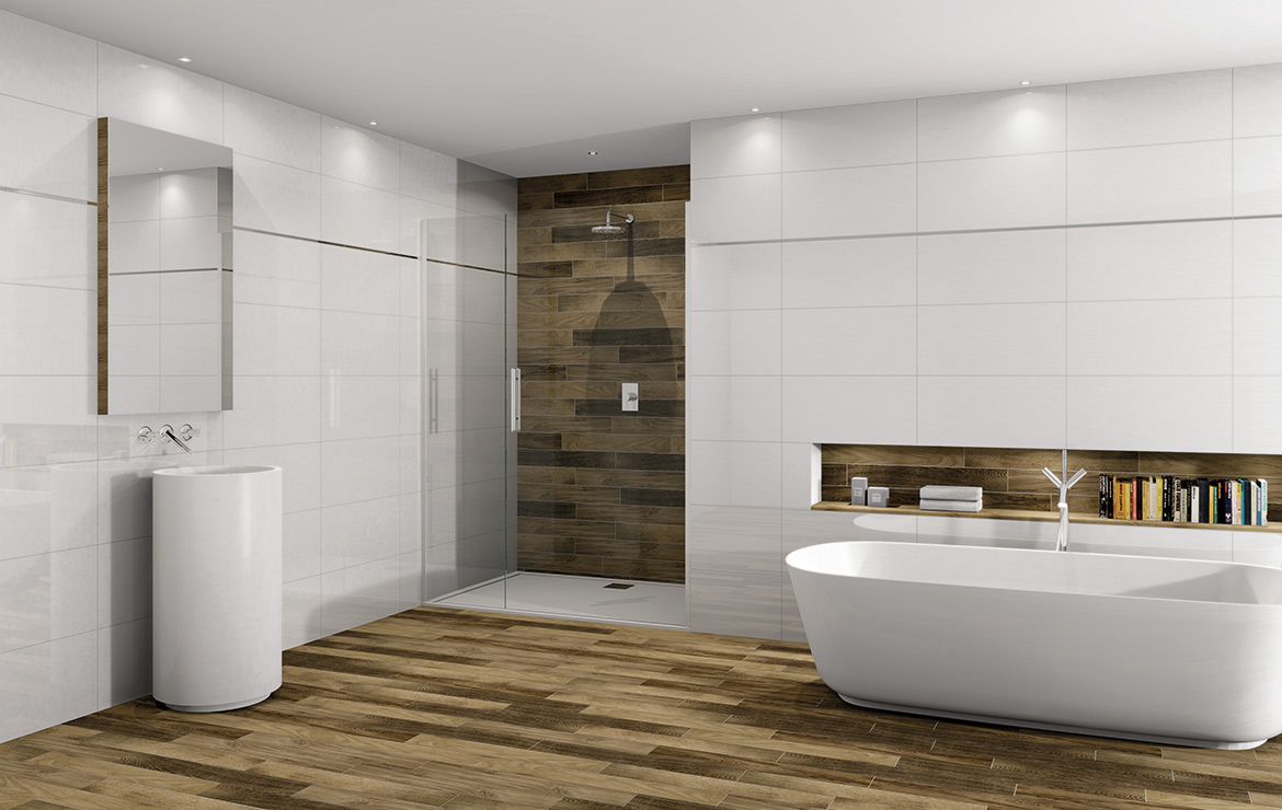Modern style bathroom interior design with White Rectified Gloss 30x60 wall tiles and wood look floor tiles Treverkfusion Brown.