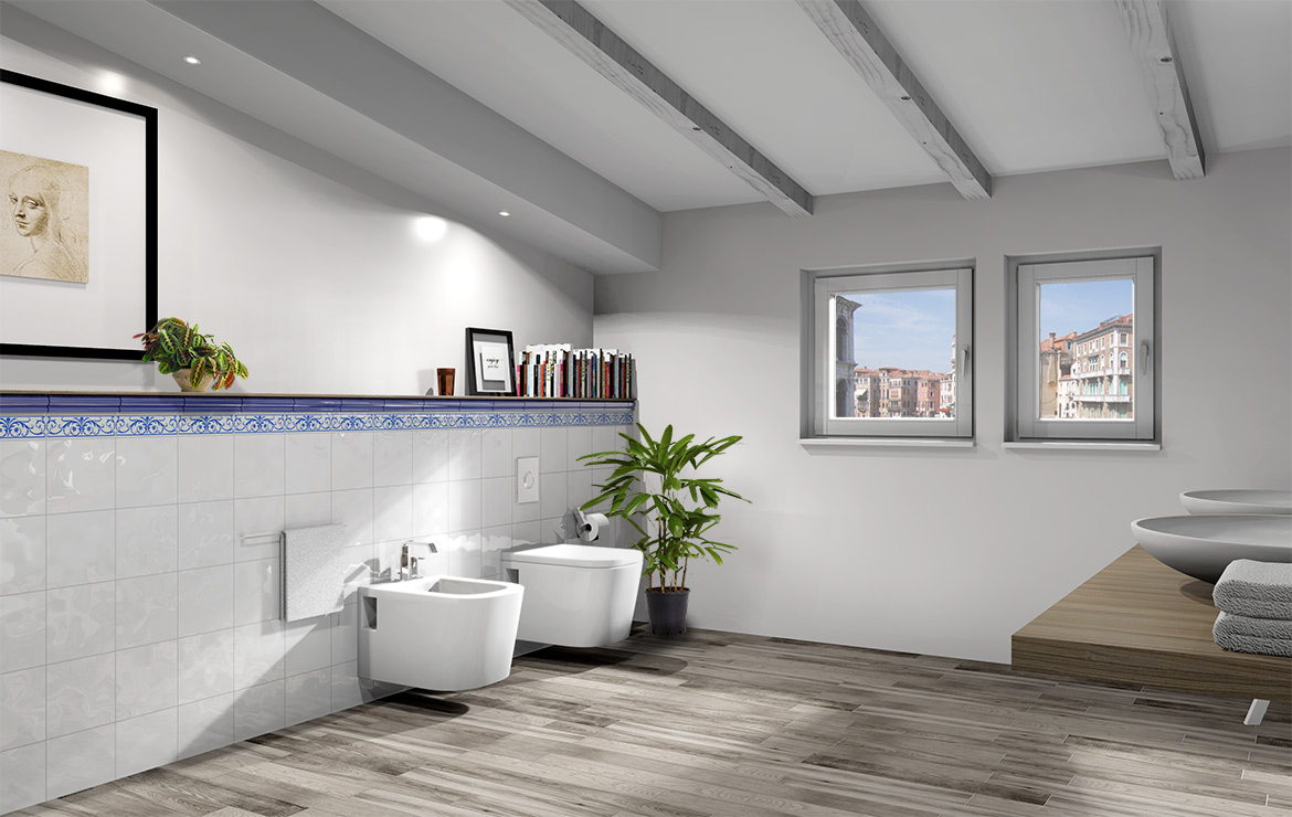 Retro style bathroom interior design with White Bumpy Gloss 20x20 wall tiles and wood look floor tiles Treverkfusion Grey.