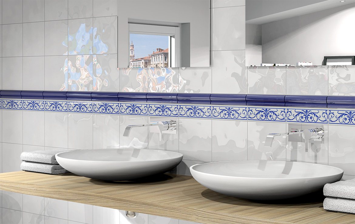 Retro style bathroom wall design with White Bumpy Gloss 20x20 wall tiles.