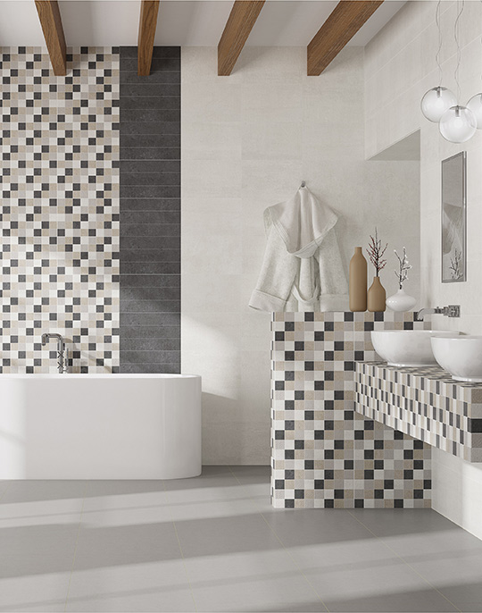 Activ 25x40 / 45x45. Concrete look and patterned bathroom wall and floor tiles. View collection.