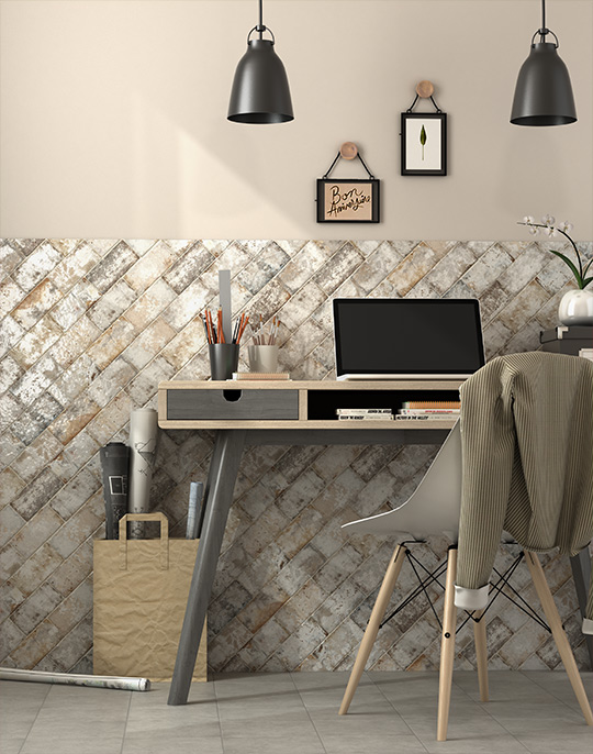 Anjo 7x14. Monocolour vintage style small format gloss wall tiles. View collection.