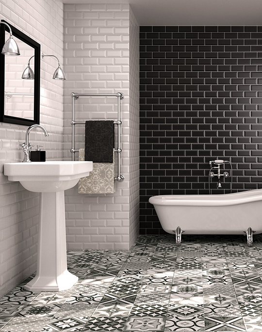 Biselado beveled bathroom victorian metro style wall tiles. View collection