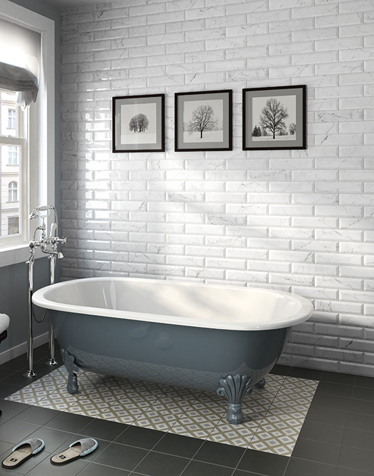 Carrara Metro 7.5x15. Metro style white marble look high gloss wall tiles. View collection.
