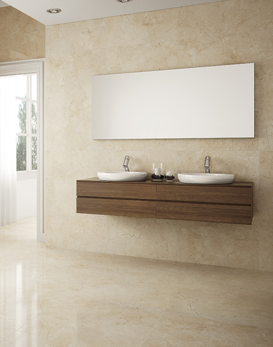 Crema Marfil 60x60. Marble look polished and matt finish porcelain tiles for bathroom walls and floors. View collection.