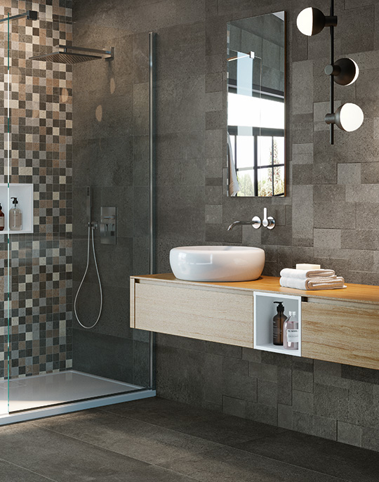 Discovery 45x90. Semi-polished concrete look bathroom wall and floor tiles. View collection.