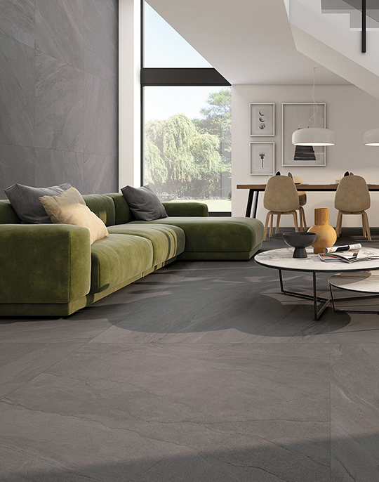 Halley 90x90. Semi-polished natural stone look porcelain tiles. View collection.