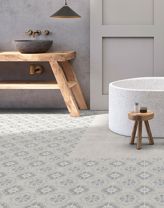 Hamptons. Vintage style floor tiles. View collection.