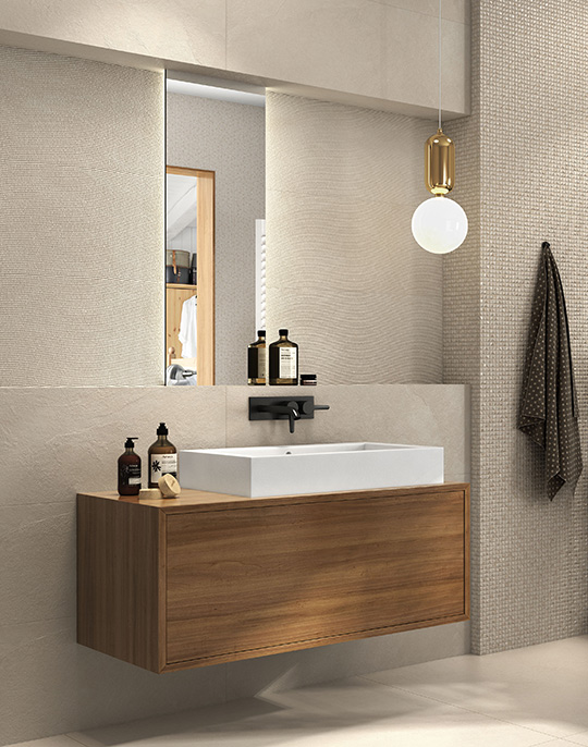 Hardy - textured stone look 3D effect bathroom wall tiles. View collection
