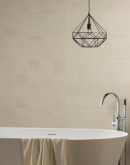 Hit - stone look bathroom wall tiles with patterned decoration. View collection.