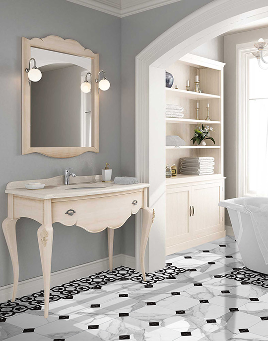 Jonico. White marble look wall and floor tiles with classic style decors. View collection.