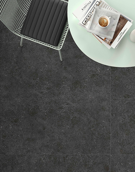 Kalksten 60x60 / 90x90. Large format stone look structured hammered effect anti-slip porcelain floor tiles with slip rating R11 C. View collection.