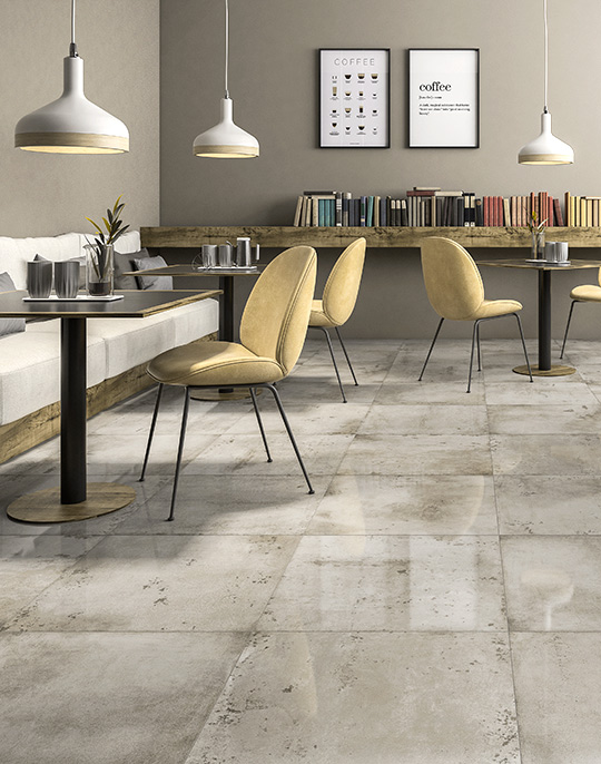 Life 60x60. Large format concrete look high glossy porcelain tiles. View collection.