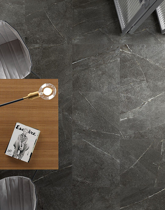 Madison 60x60. Natural stone look porcelain tiles. View collection.