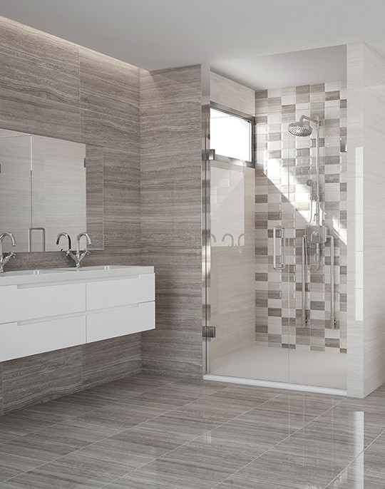 Marmara - stone look high gloss bathroom wall and floor tiles with 3D effect mosaic decoration. View collection.