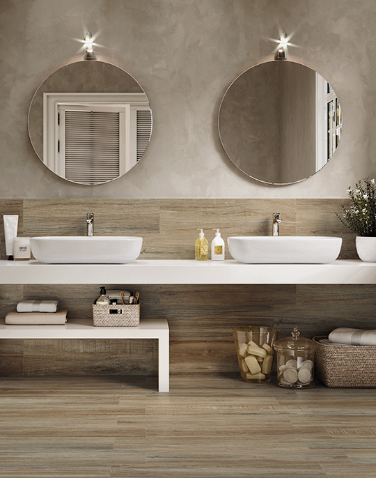 Mistral and Timber 22x84. Rustic wood look porcelain tiles. View collection.