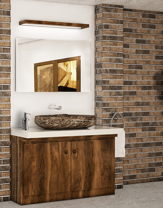 Ladrillo and Muralla - stone look brick 3D effect bathroom wall and floor tiles. View collection.