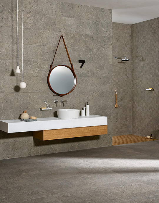 Mystone Gris Fleury 60x60. Stone look bathroom wall and floor tiles. View collection.