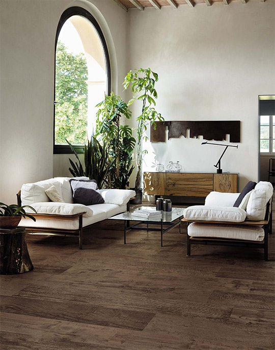 Nash 18x150. Extra long plank aged effect wood look porcelain tiles. View collection.