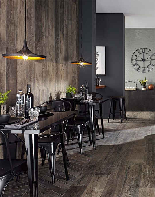 Nash 18.5x150. Aged wood look porcelain tiles. View collection.