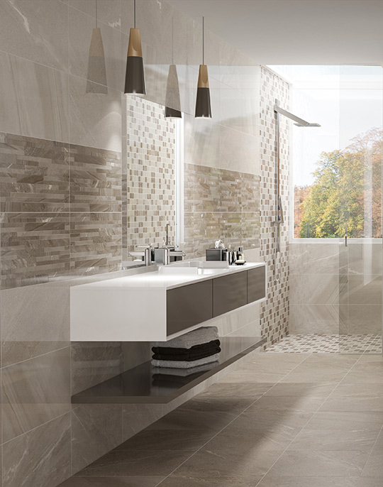 New Age - stone look high gloss bathroom wall and floor tiles with brick effect decoration. View collection.