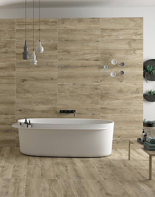 Norden 22x84. Wood effect bathroom wall and floor tiles. View collection.