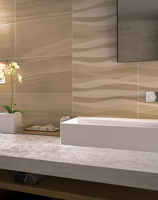 Oriente. Stone look high gloss wall and floor bathroom tiles. View collection.