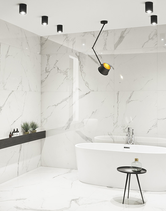 Pietrasanta. Luxury extra large format white marble look wall and floor polished porcelain tiles. View collection.