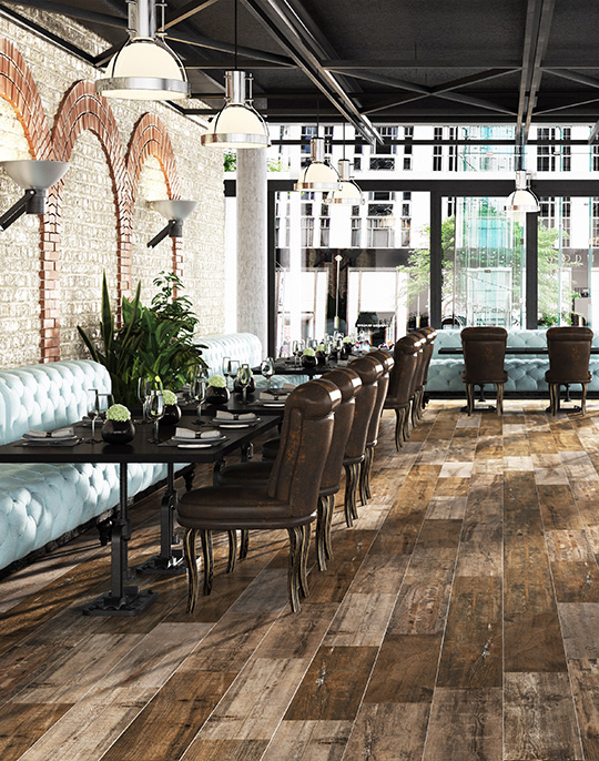 Retro 22x84. Old wood look porcelain tiles. View collection.