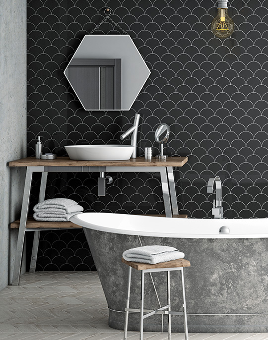 Scale - monocolour retro look glossy bathroom wall tiles. View collection.