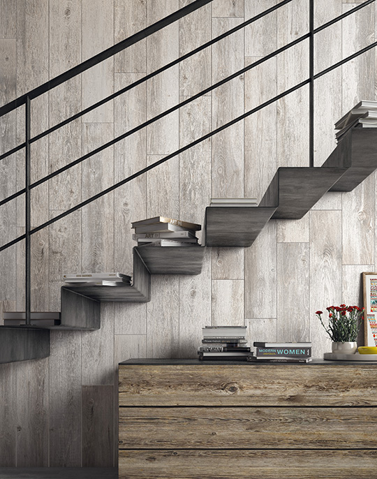 Sherwood 20x160. Extra long plank structured wood look porcelain tiles. View collection.