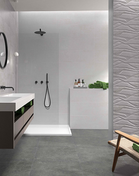 Type 30x90. Stone look bathroom wall tiles with 3D effect relief decors. View collection.