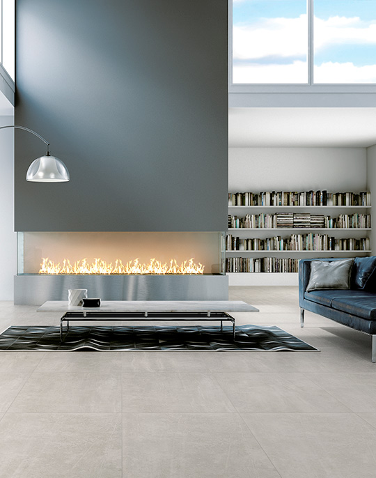 Uptown 45x90 / 60x60. Large format natural concrete look porcelain floor tiles. View collection.