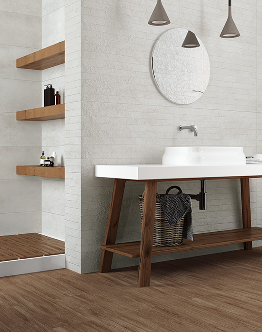 Viter. Concrete look bathroom wall tile. View collection.